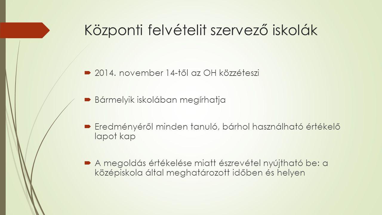 Központi felvételit szervező iskolák  2014.