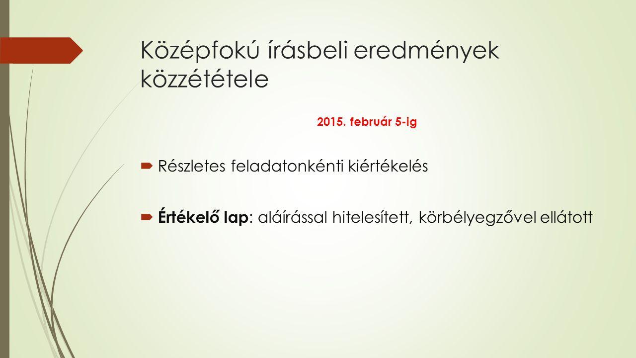 Középfokú írásbeli eredmények közzététele 2015.