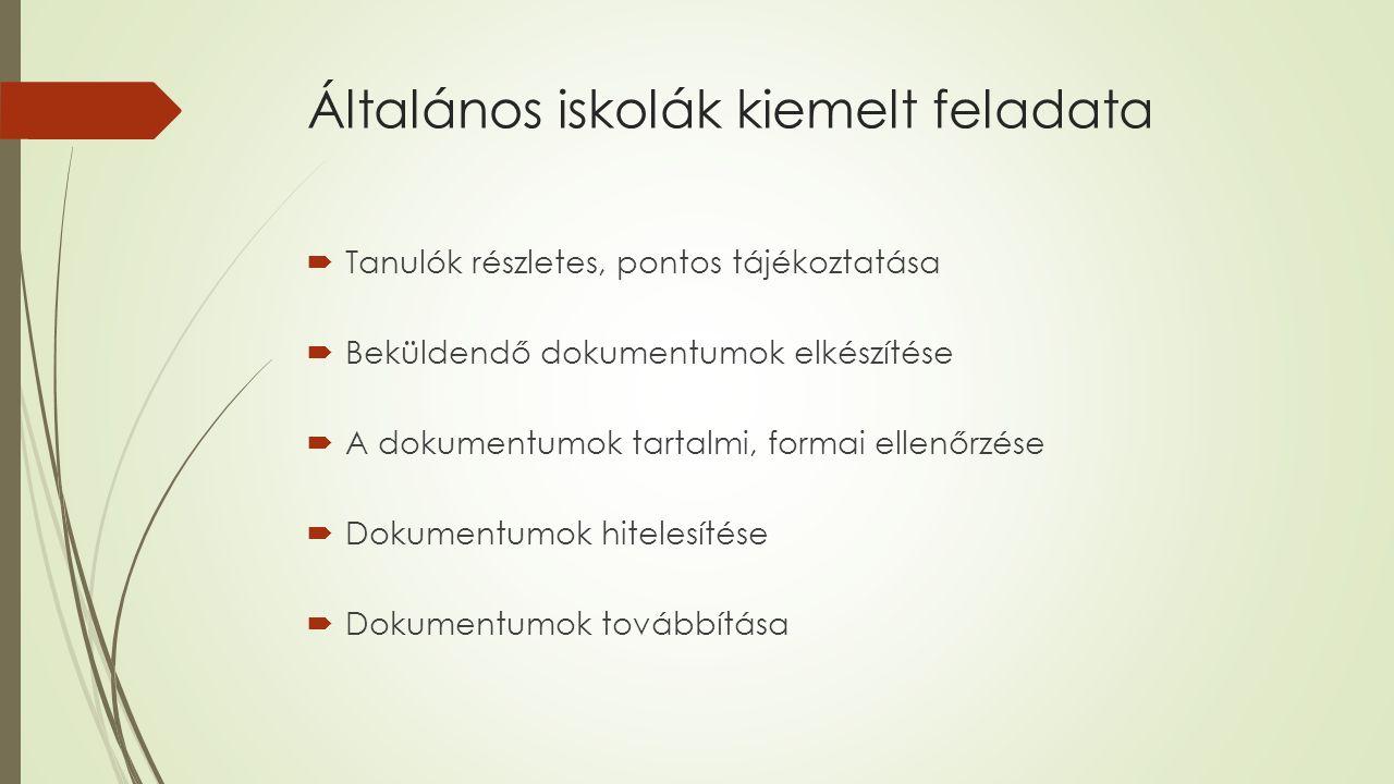 Központi Írásbeli vizsga  Magyar nyelvi  Matematika  2 x 45 perc, köztük minimum 15 perc szünet  50-50 pont  Szakértői véleményeket vigyék magukkal, de nem árt előre is jelezni  Korábbi felvételi feladatsorok www.oktatas.hu oldalon találhatók!www.oktatas.hu