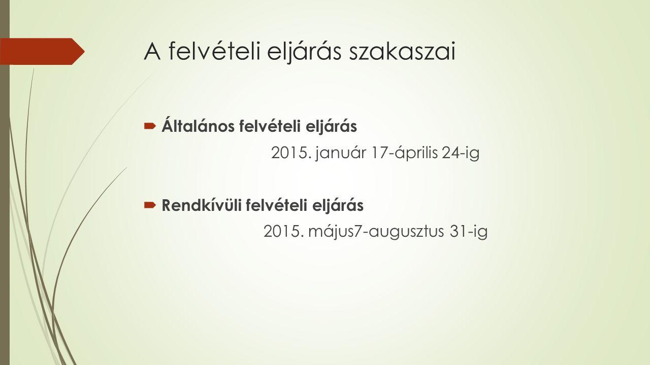 A felvételi eljárás szakaszai  Általános felvételi eljárás 2015.