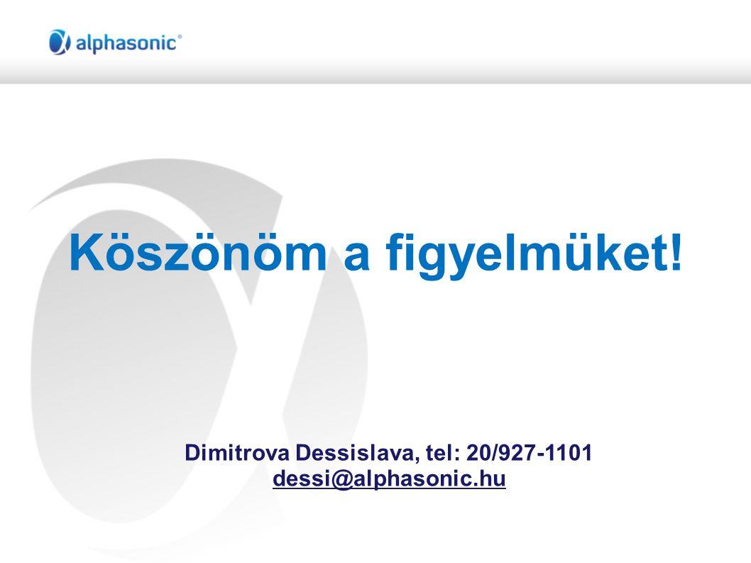 Köszönöm a figyelmüket! Dimitrova Dessislava, tel: 20/927-1101 dessi@alphasonic.hu
