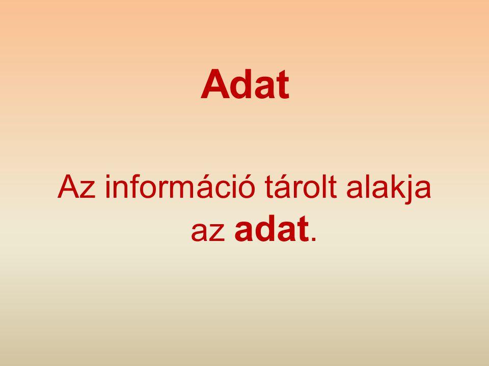 Adat Az információ tárolt alakja az adat.