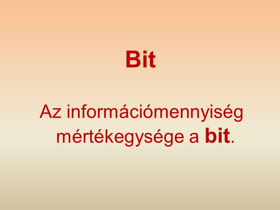 Bit Az információmennyiség mértékegysége a bit.