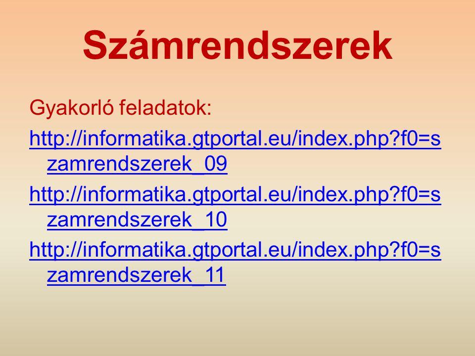 Számrendszerek Gyakorló feladatok: http://informatika.gtportal.eu/index.php?f0=s zamrendszerek_09 http://informatika.gtportal.eu/index.php?f0=s zamren