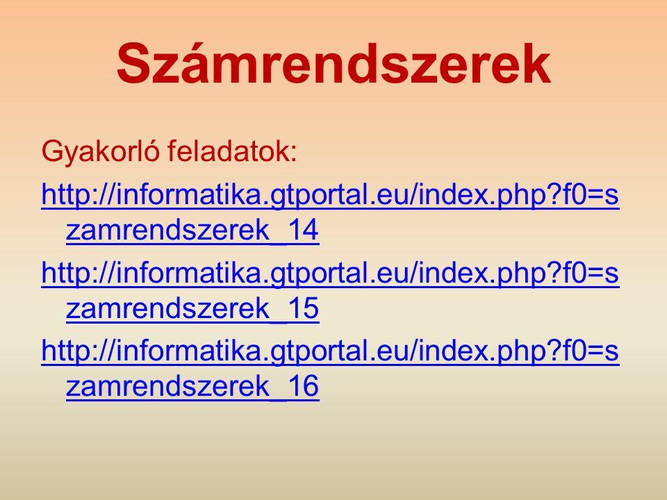 Számrendszerek Gyakorló feladatok: http://informatika.gtportal.eu/index.php?f0=s zamrendszerek_14 http://informatika.gtportal.eu/index.php?f0=s zamren