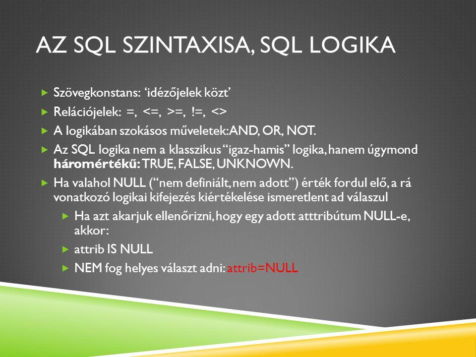 AZ SQL SZINTAXISA, SQL LOGIKA  Szövegkonstans: 'idézőjelek közt'  Relációjelek: =, =, !=, <>  A logikában szokásos műveletek: AND, OR, NOT.  Az SQ