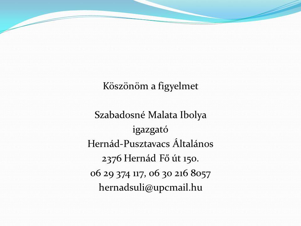 Köszönöm a figyelmet Szabadosné Malata Ibolya igazgató Hernád-Pusztavacs Általános 2376 Hernád Fő út 150. 06 29 374 117, 06 30 216 8057 hernadsuli@upc
