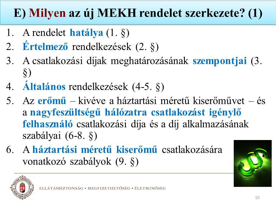 E) Milyen az új MEKH rendelet szerkezete? (1) 1.A rendelet hatálya (1. §) 2.Értelmező rendelkezések (2. §) 3.A csatlakozási díjak meghatározásának sze