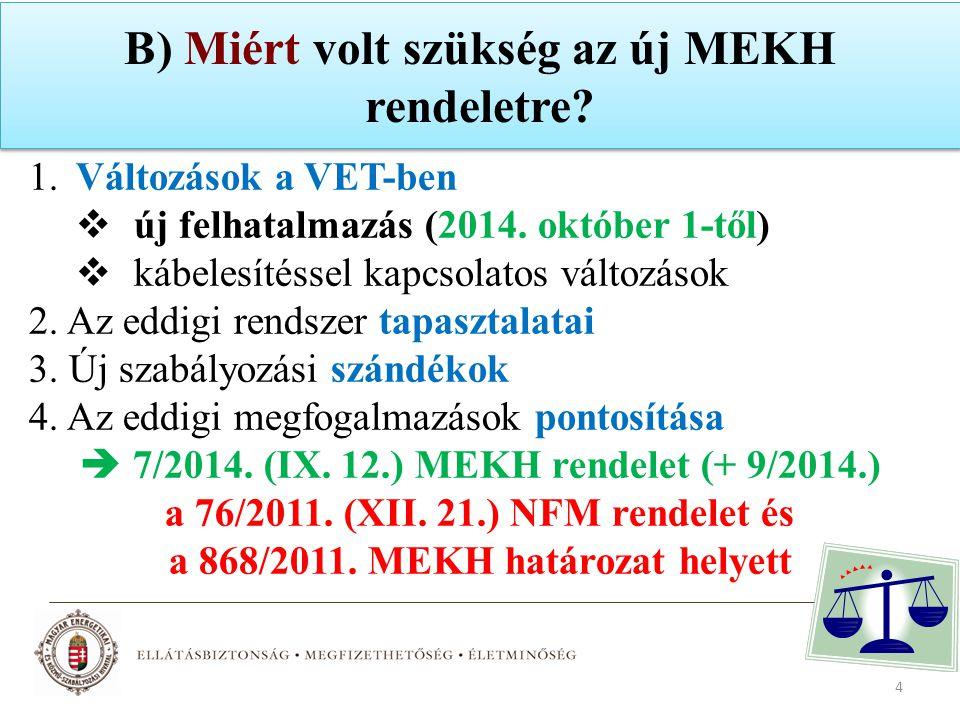 B) Miért volt szükség az új MEKH rendeletre? 1.Változások a VET-ben  új felhatalmazás (2014. október 1-től)  kábelesítéssel kapcsolatos változások 2