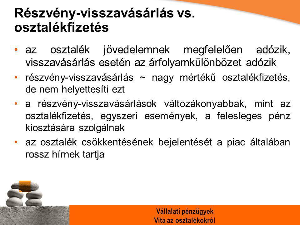 Vállalati pénzügyek Vita az osztalékokról Részvény-visszavásárlás vs.