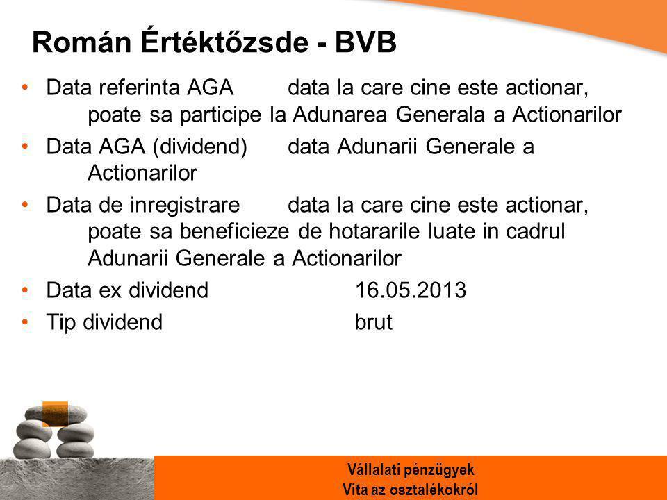Vállalati pénzügyek Vita az osztalékokról Román Értéktőzsde - BVB Perioada de decontare este de T+3 - doar a 3-a zi lucratoare de la data tranzactiei vom figura ca actionari Exemplu: Sif Banat-Crisana (SIF1) : - data de referinta 28.03.2012 - AGA 25.04.2012 - data de inregistrare18.05.2012 -pentru a putea participa la AGA trebuie sa fim actionari la data de referinta din 28.03.2012 iar pentru acesta ultima zi in care putem cumpara actiuni este 23.03.2012 - pentru a beneficia de hotararile luate in AGA din 25.04.2012 ( dividende sau altceva ) trebuie sa fim actionari la data de inregistrare din 18.05.2012, iar pentru aceasta ultima zi in care putem cumpara actiuni este 15.05.2012.