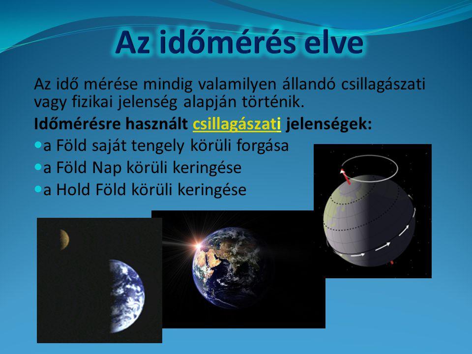 Az idő mérése mindig valamilyen állandó csillagászati vagy fizikai jelenség alapján történik. Időmérésre használt csillagászati jelenségek:csillagásza