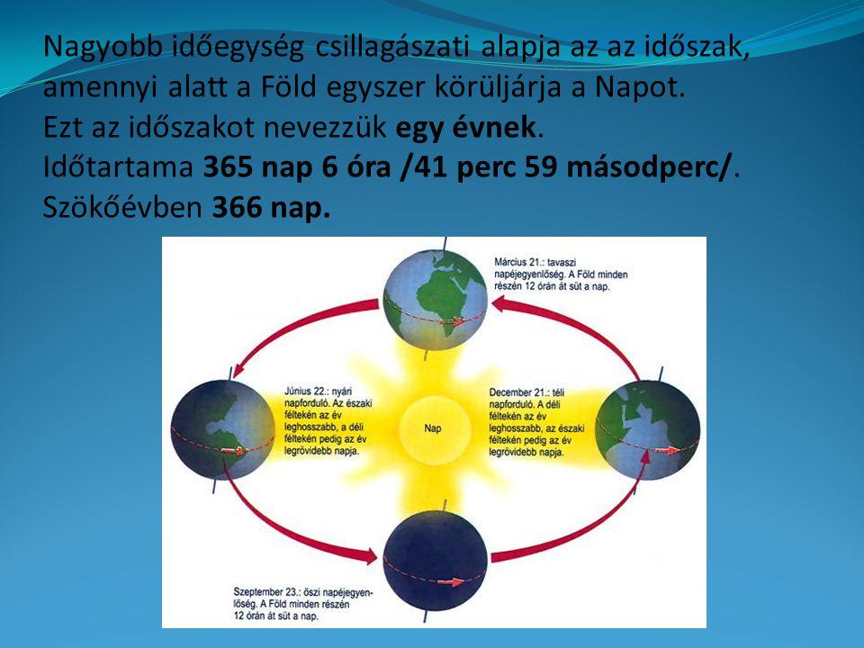 Nagyobb időegység csillagászati alapja az az időszak, amennyi alatt a Föld egyszer körüljárja a Napot. Ezt az időszakot nevezzük egy évnek. Időtartama