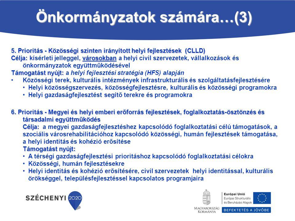 5. Prioritás - Közösségi szinten irányított helyi fejlesztések (CLLD) Célja: városokban Célja: kísérleti jelleggel, városokban a helyi civil szervezet