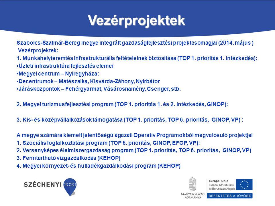 Vezérprojektek Szabolcs-Szatmár-Bereg megye integrált gazdaságfejlesztési projektcsomagjai (2014. május ) Vezérprojektek: 1. Munkahelyteremtés infrast