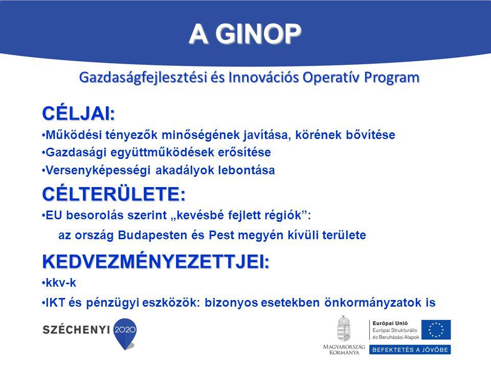 Gazdaságfejlesztési és Innovációs Operatív Program CÉLJAI: Működési tényezők minőségének javítása, körének bővítése Gazdasági együttműködések erősítés