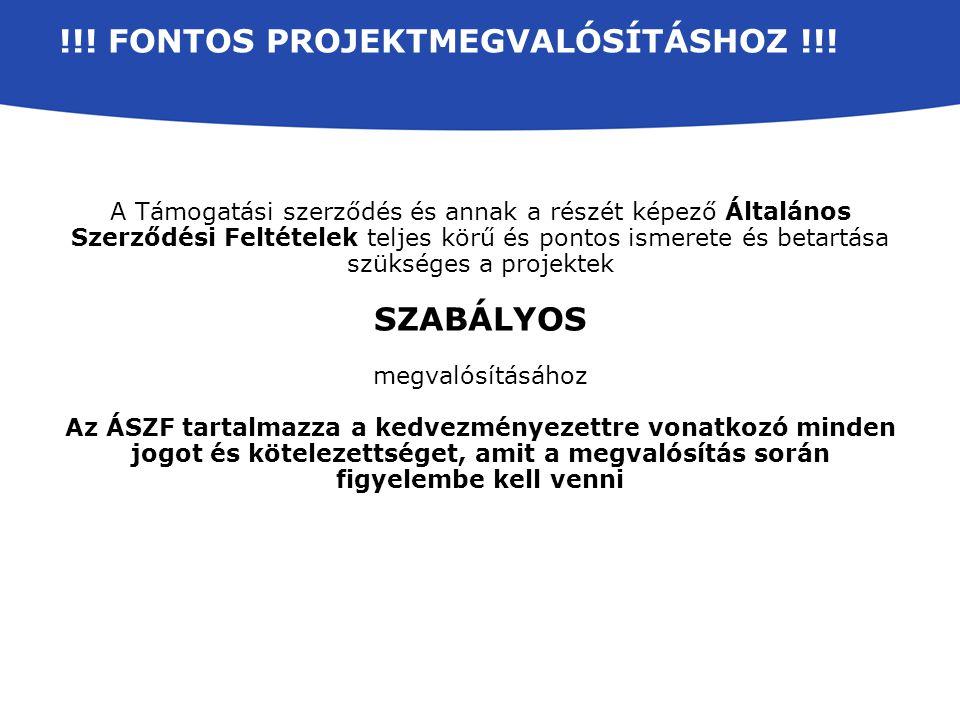 !!. FONTOS PROJEKTMEGVALÓSÍTÁSHOZ !!.