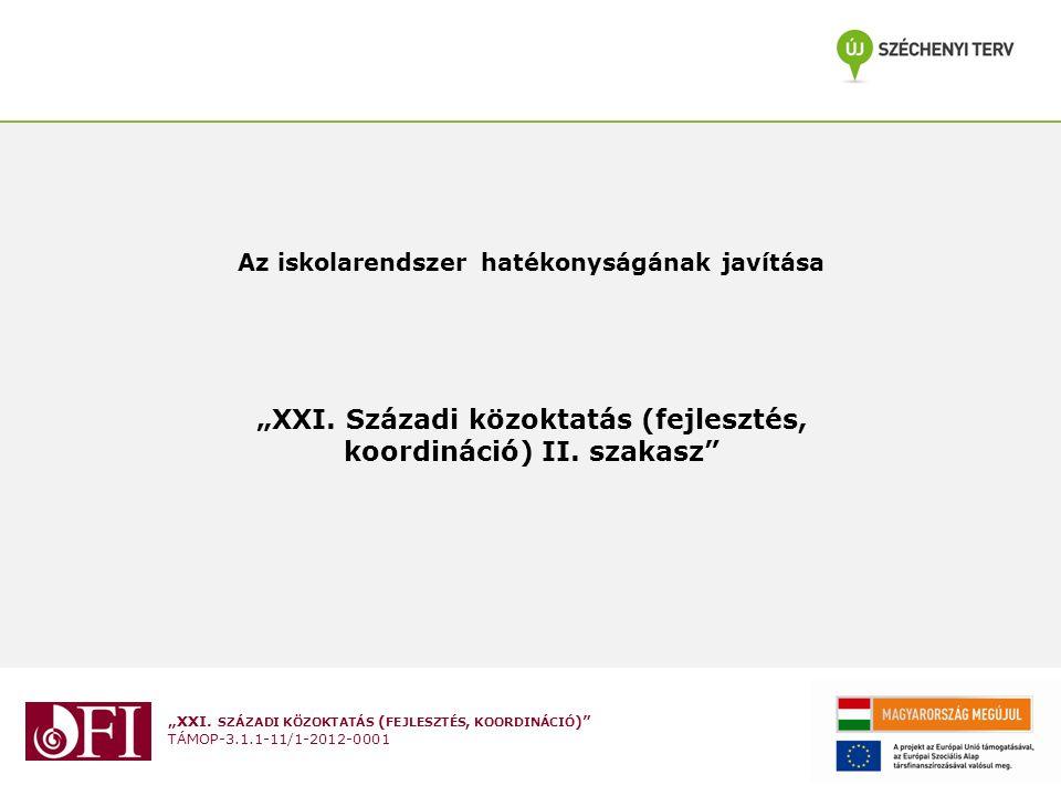 """""""XXI. SZÁZADI KÖZOKTATÁS ( FEJLESZTÉS, KOORDINÁCIÓ )"""" TÁMOP-3.1.1-11/1-2012-0001 Az iskolarendszer hatékonyságának javítása """"XXI. Századi közoktatás ("""