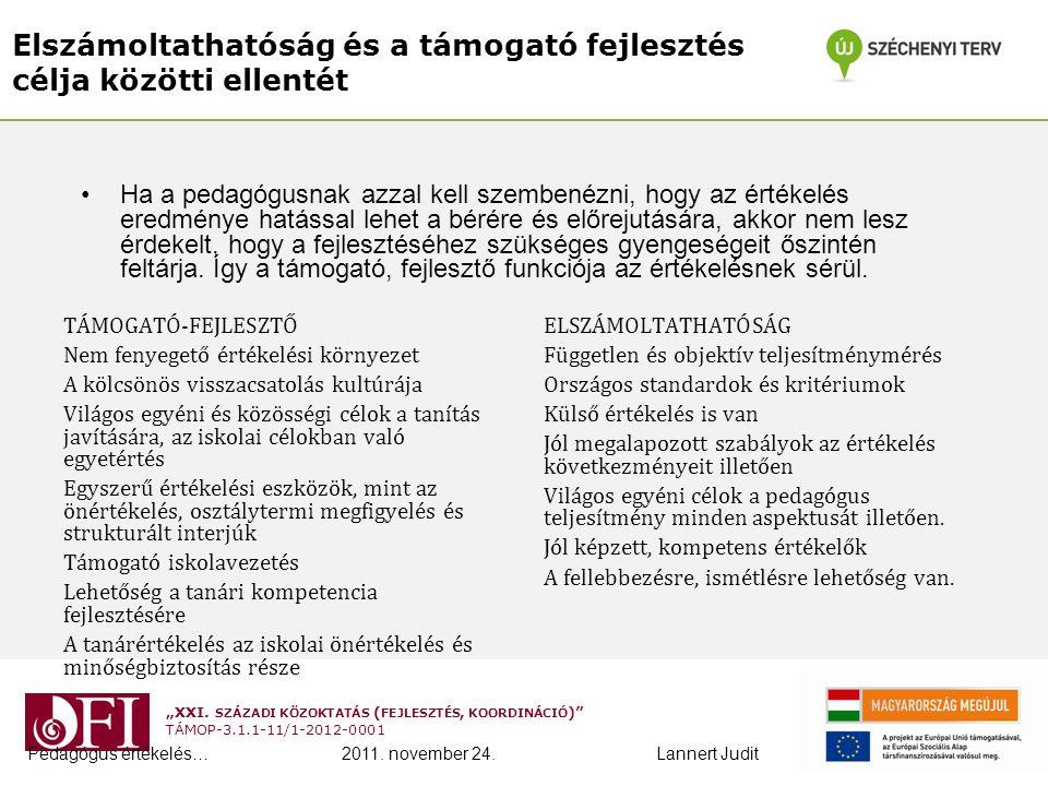 """""""XXI. SZÁZADI KÖZOKTATÁS ( FEJLESZTÉS, KOORDINÁCIÓ )"""" TÁMOP-3.1.1-11/1-2012-0001 Elszámoltathatóság és a támogató fejlesztés célja közötti ellentét TÁ"""