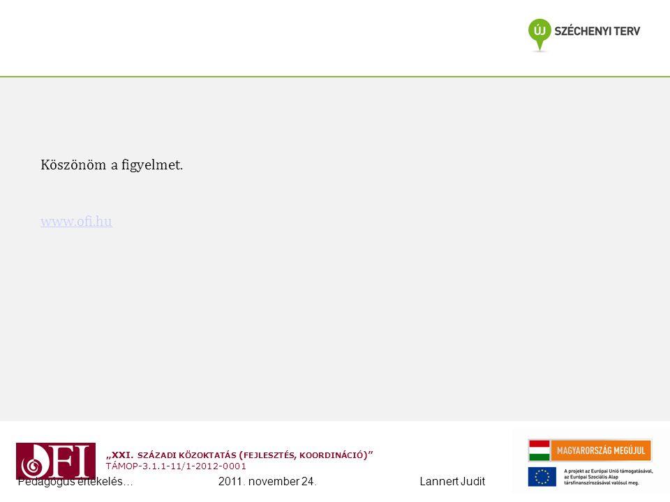 """""""XXI. SZÁZADI KÖZOKTATÁS ( FEJLESZTÉS, KOORDINÁCIÓ )"""" TÁMOP-3.1.1-11/1-2012-0001 Köszönöm a figyelmet. www.ofi.hu Pedagógus értékelés…2011. november 2"""