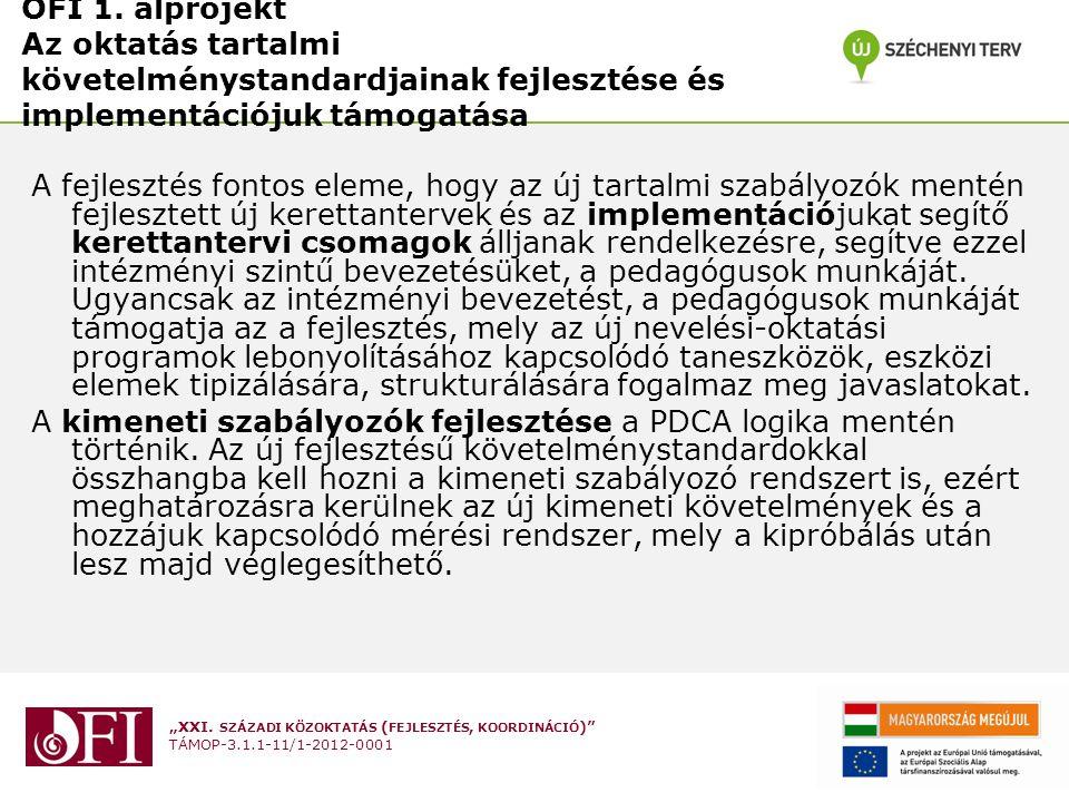 """""""XXI. SZÁZADI KÖZOKTATÁS ( FEJLESZTÉS, KOORDINÁCIÓ )"""" TÁMOP-3.1.1-11/1-2012-0001 OFI 1. alprojekt Az oktatás tartalmi követelménystandardjainak fejles"""