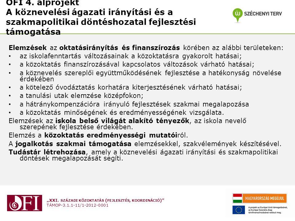 """""""XXI. SZÁZADI KÖZOKTATÁS ( FEJLESZTÉS, KOORDINÁCIÓ )"""" TÁMOP-3.1.1-11/1-2012-0001 OFI 4. alprojekt A köznevelési ágazati irányítási és a szakmapolitika"""