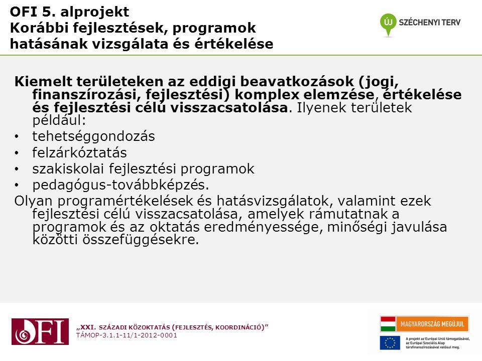 """""""XXI. SZÁZADI KÖZOKTATÁS ( FEJLESZTÉS, KOORDINÁCIÓ )"""" TÁMOP-3.1.1-11/1-2012-0001 OFI 5. alprojekt Korábbi fejlesztések, programok hatásának vizsgálata"""