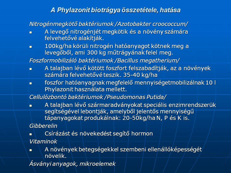 A Phylazonit biotrágya összetétele, hatása Nitrogénmegkötő baktériumok /Azotobakter croococcum/ A levegő nitrogénjét megkötik és a növény számára felv