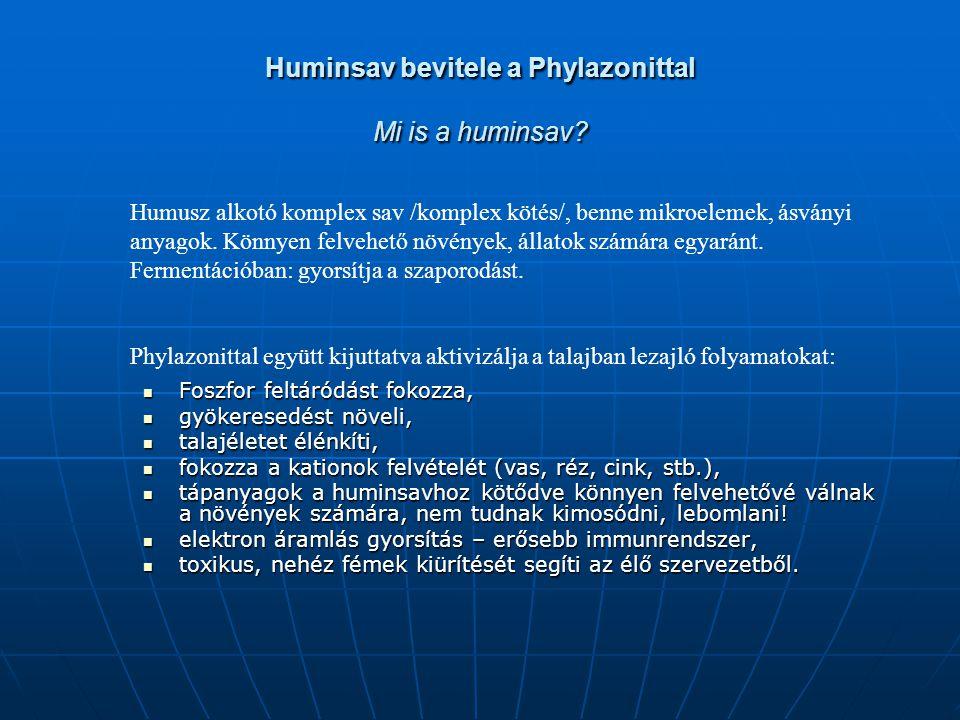 Huminsav bevitele a Phylazonittal Mi is a huminsav? Foszfor feltáródást fokozza, Foszfor feltáródást fokozza, gyökeresedést növeli, gyökeresedést növe