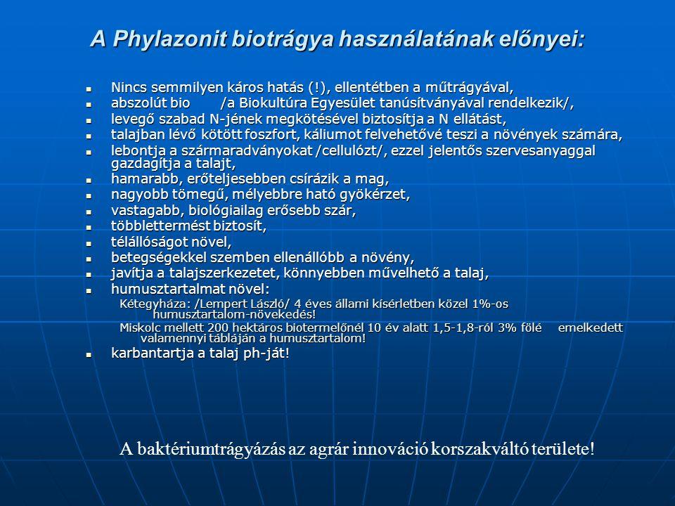 A Phylazonit biotrágya használatának előnyei: Nincs semmilyen káros hatás (!), ellentétben a műtrágyával, Nincs semmilyen káros hatás (!), ellentétben