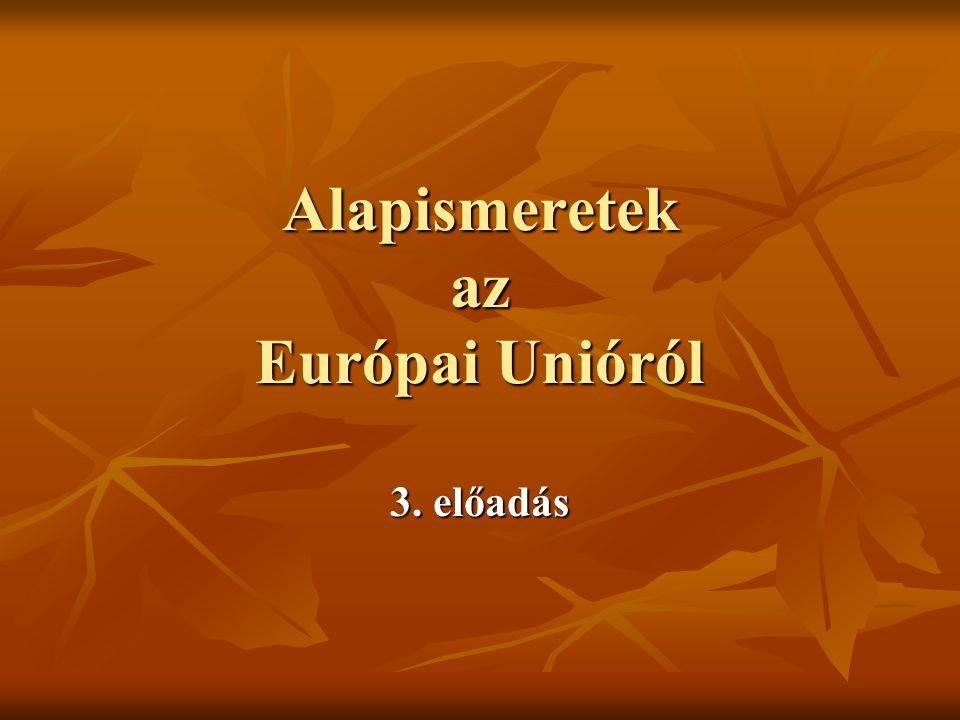 1.Az integráció fejlődése, története 2. Az EU intézményrendszere 3.