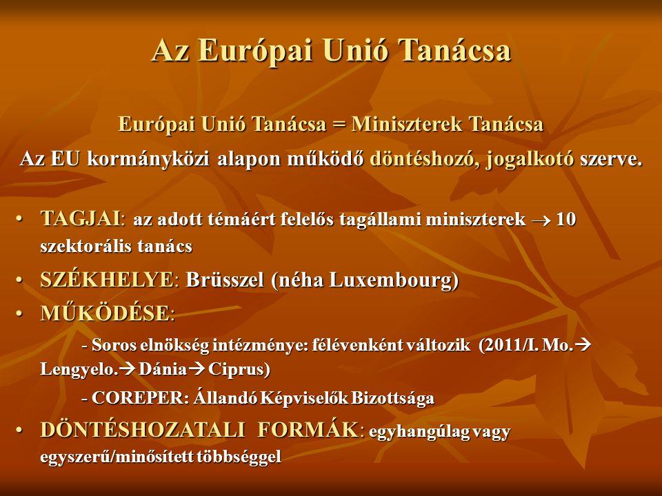 Az Európai Unió Tanácsa Európai Unió Tanácsa = Miniszterek Tanácsa Az EU kormányközi alapon működő döntéshozó, jogalkotó szerve. TAGJAI: az adott témá