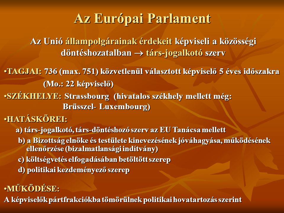 Az Európai Parlament Az Unió állampolgárainak érdekeit képviseli a közösségi döntéshozatalban  társ-jogalkotó szerv TAGJAI: 736 (max. 751) közvetlenü