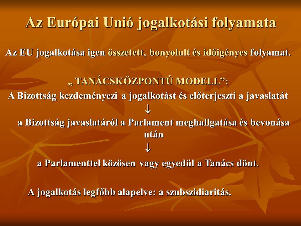 """Az Európai Unió jogalkotási folyamata Az EU jogalkotása igen összetett, bonyolult és időigényes folyamat. """" TANÁCSKÖZPONTÚ MODELL"""": A Bizottság kezdem"""