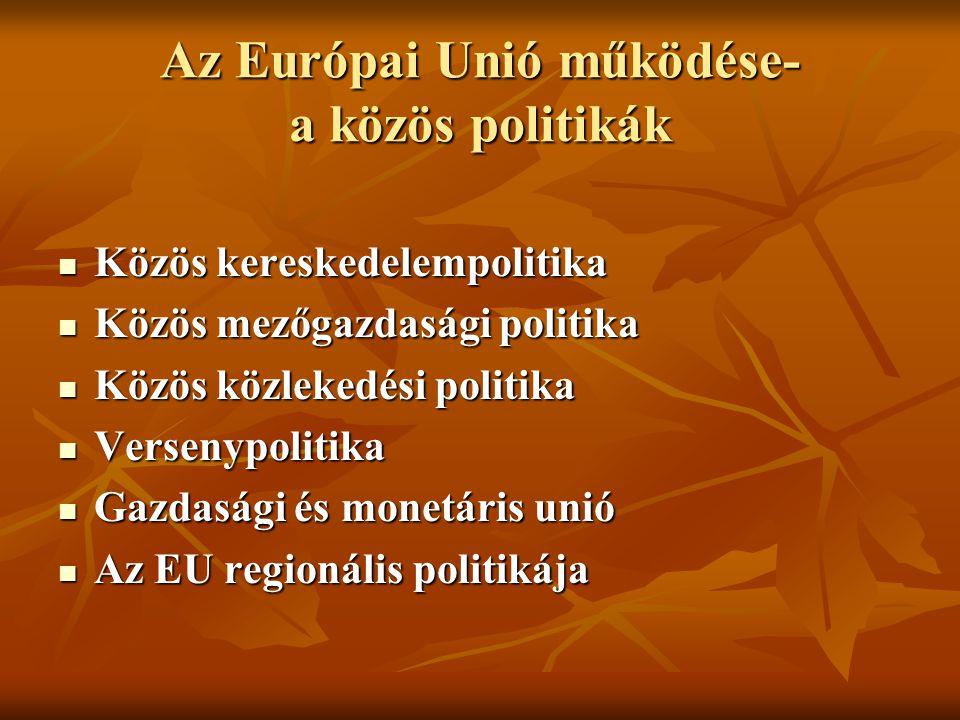 Az Európai Unió működése- a közös politikák Közös kereskedelempolitika Közös kereskedelempolitika Közös mezőgazdasági politika Közös mezőgazdasági pol