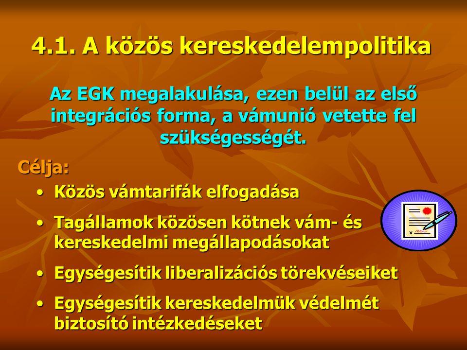 4.1. A közös kereskedelempolitika Az EGK megalakulása, ezen belül az első integrációs forma, a vámunió vetette fel szükségességét. Célja: Közös vámtar