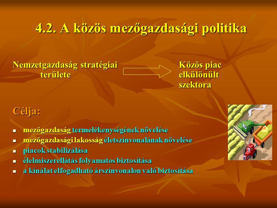 4.2. A közös mezőgazdasági politika Nemzetgazdaság stratégiai Közös piac területe elkülönült szektora Célja: mezőgazdaság termelékenységének növelése