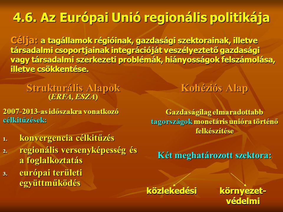 4.6. Az Európai Unió regionális politikája Célja: a tagállamok régióinak, gazdasági szektorainak, illetve társadalmi csoportjainak integrációját veszé