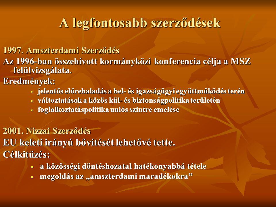 A legfontosabb szerződések A legfontosabb szerződések 1997. Amszterdami Szerződés Az 1996-ban összehívott kormányközi konferencia célja a MSZ felülviz