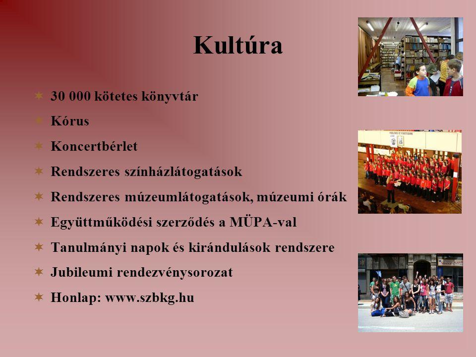 Kultúra  30 000 kötetes könyvtár  Kórus  Koncertbérlet  Rendszeres színházlátogatások  Rendszeres múzeumlátogatások, múzeumi órák  Együttműködés