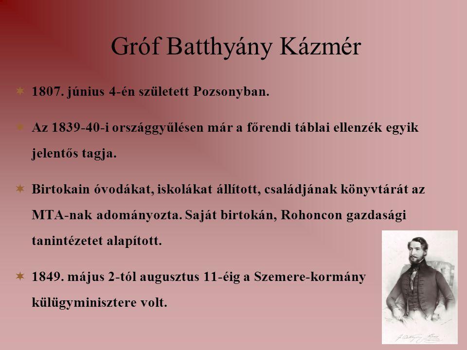 Gróf Batthyány Kázmér  1807. június 4-én született Pozsonyban.  Az 1839-40-i országgyűlésen már a főrendi táblai ellenzék egyik jelentős tagja.  Bi