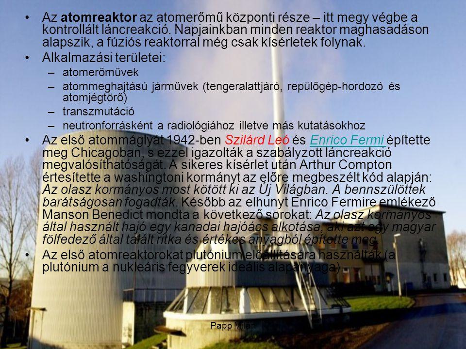 Papp Milán Működési elv : A reaktormag sematikus rajza: kékkel a fűtőelemek, rózsaszínnel a moderátor, szürkével pedig a szabályzórudak vannak jelölve.A reaktormag sematikus rajza Napjainkban minden üzemben levő reaktor a hőt a maghasadásokból nyeri.