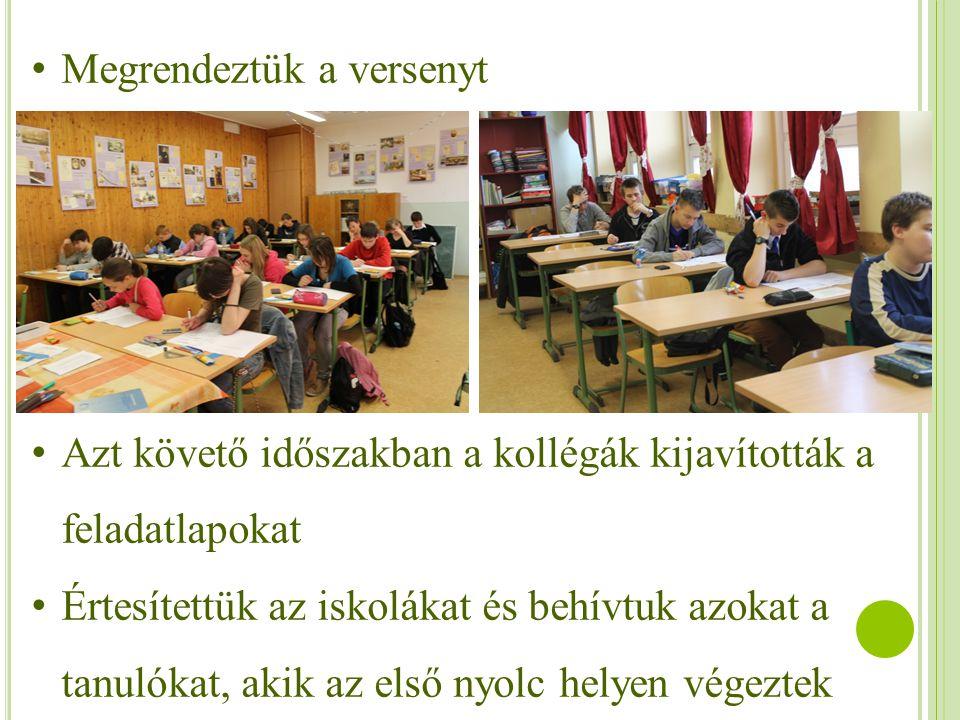 Megrendeztük a versenyt Azt követő időszakban a kollégák kijavították a feladatlapokat Értesítettük az iskolákat és behívtuk azokat a tanulókat, akik