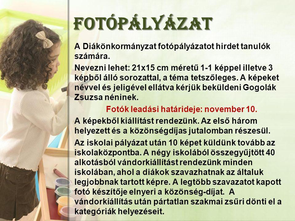 FOTÓPÁLYÁZAT A Diákönkormányzat fotópályázatot hirdet tanulók számára.