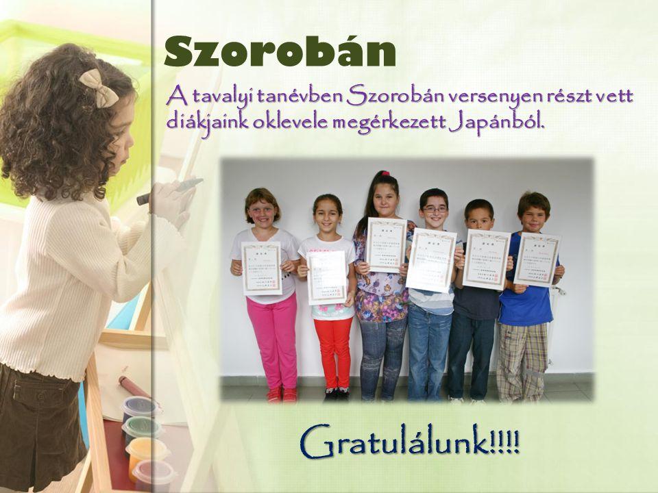 Szorobán A tavalyi tanévben Szorobán versenyen részt vett diákjaink oklevele megérkezett Japánból.