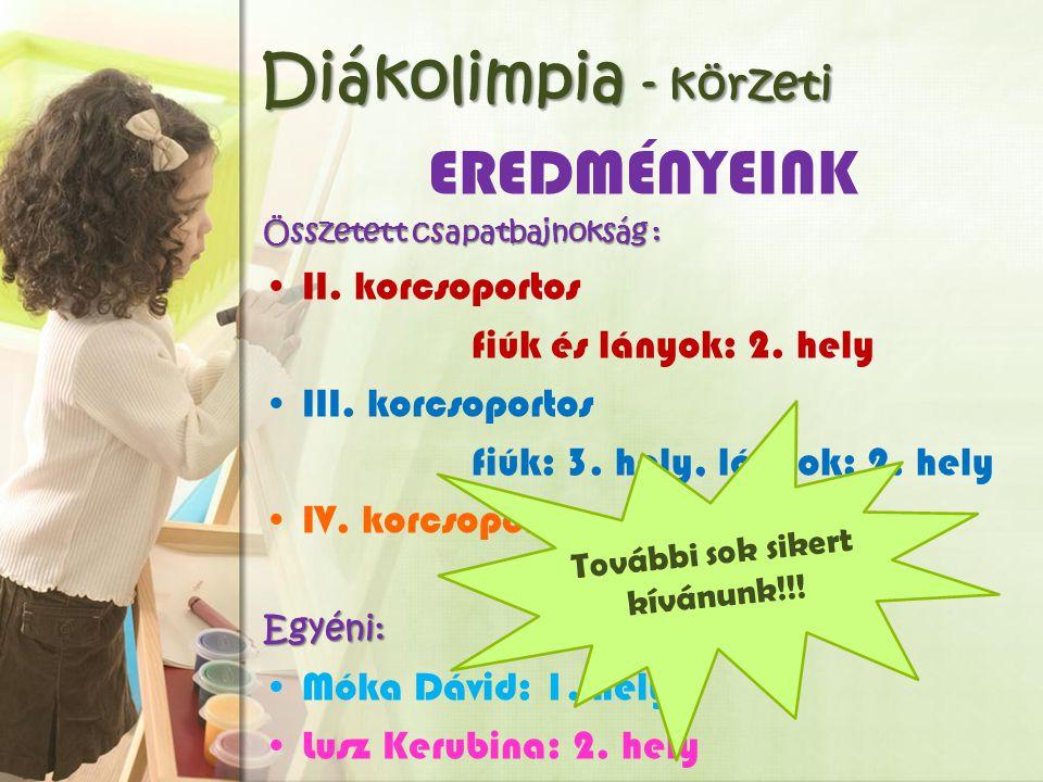 Diákolimpia - körzeti EREDMÉNYEINK Összetett csapatbajnokság : II.