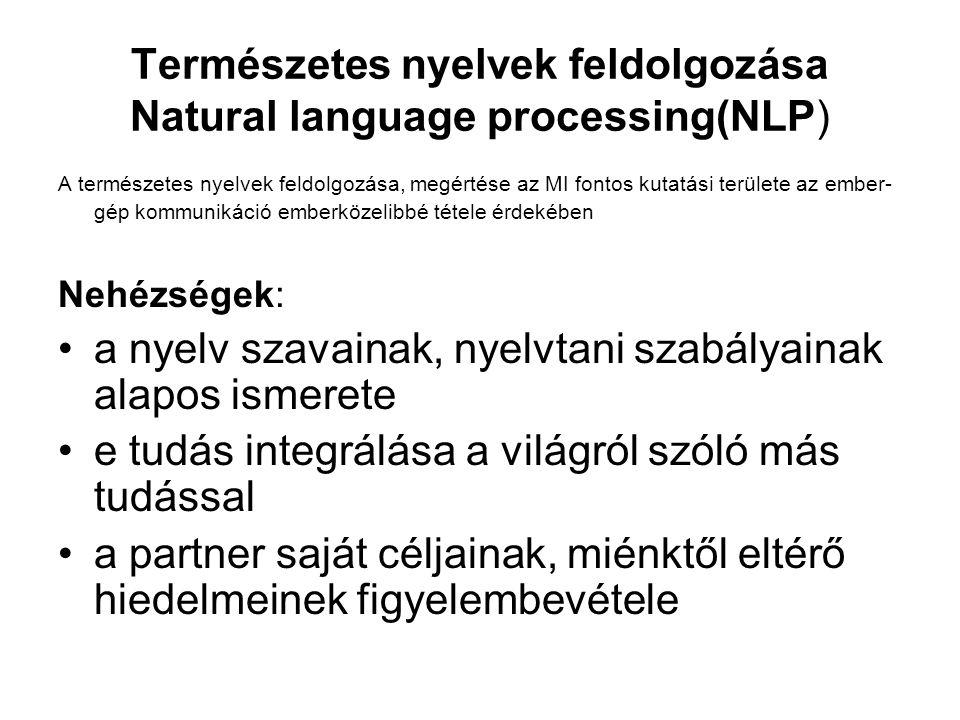 Természetes nyelvek feldolgozása Natural language processing(NLP) A természetes nyelvek feldolgozása, megértése az MI fontos kutatási területe az embe