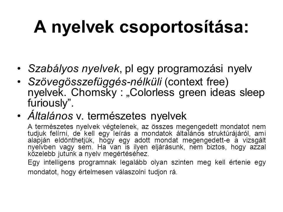 """A nyelvek csoportosítása: Szabályos nyelvek, pl egy programozási nyelv Szövegösszefüggés-nélküli (context free) nyelvek. Chomsky : """"Colorless green id"""