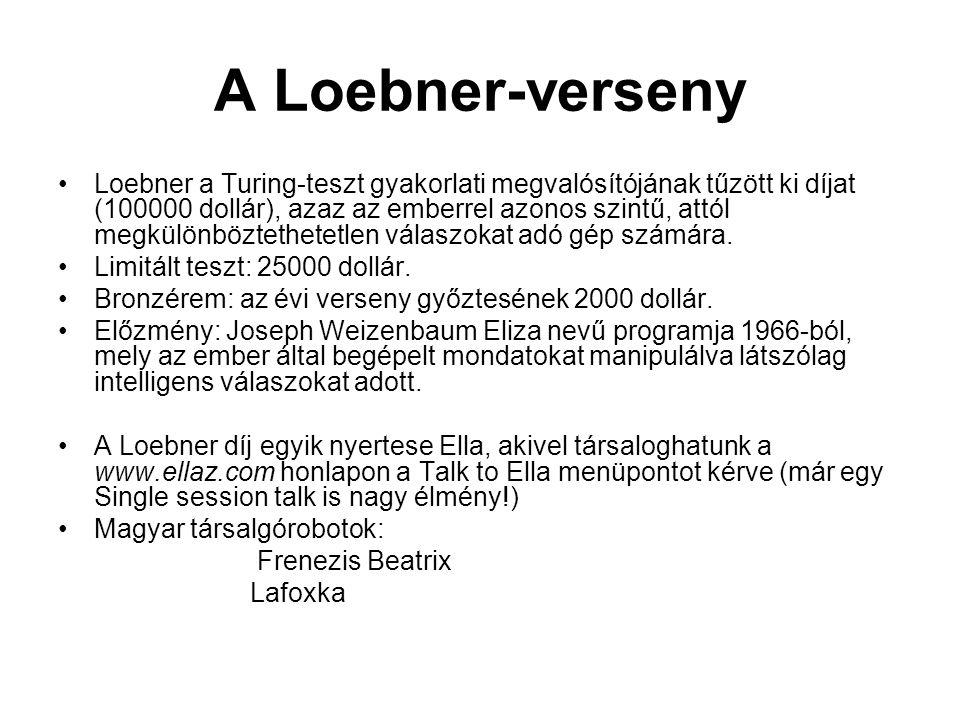 A Loebner-verseny Loebner a Turing-teszt gyakorlati megvalósítójának tűzött ki díjat (100000 dollár), azaz az emberrel azonos szintű, attól megkülönbö