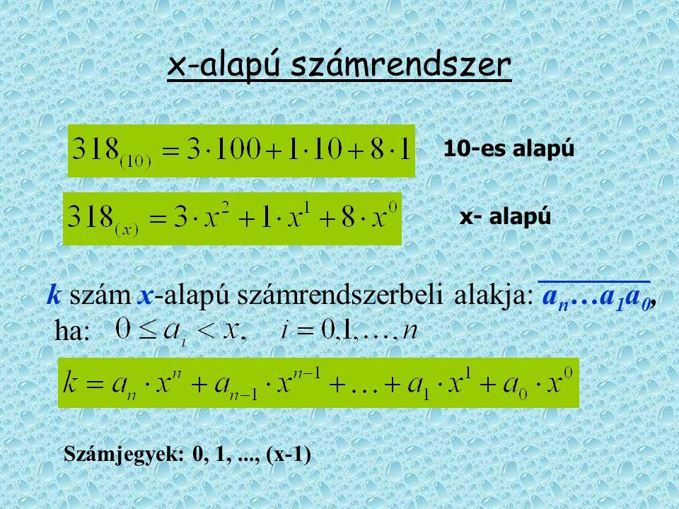 x-alapú számrendszer k szám x-alapú számrendszerbeli alakja: a n …a 1 a 0, ha: 10-es alapú x- alapú Számjegyek: 0, 1,..., (x-1)